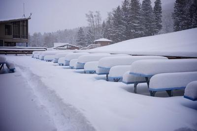 Snow Covered Deck at Pajarito Mountain